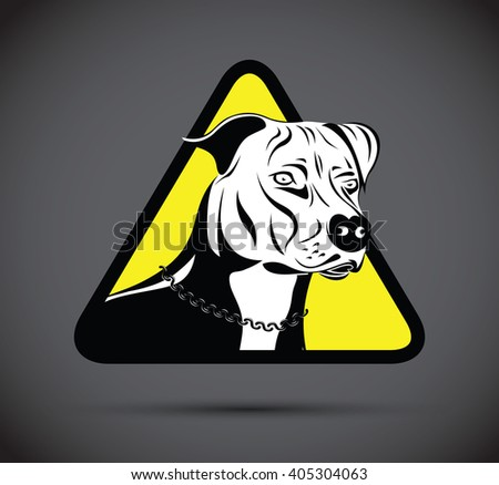 warning staffordshire terrier dog silhouette - stock vector