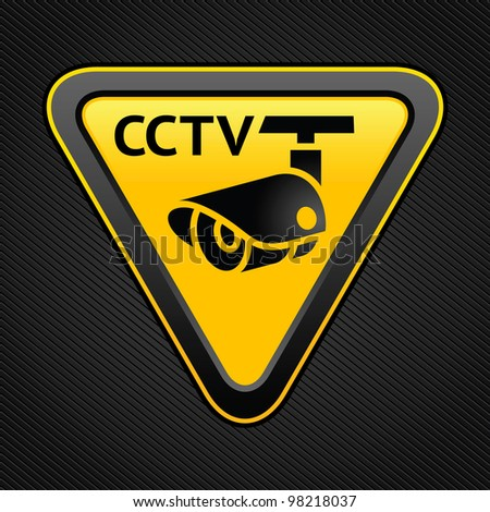 Warning Sticker for Security Alarm CCTV Camera Surveillance - stock vector