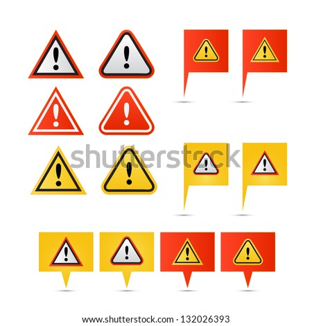 Warning symbol icons - stock vector