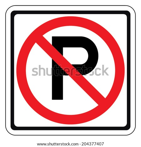 Warning traffic sign, NO PARKING - stock vector