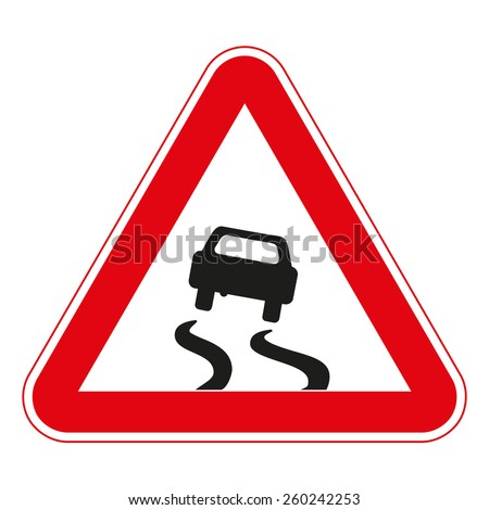 Warning traffic signs. Slippery road surface. - stock vector