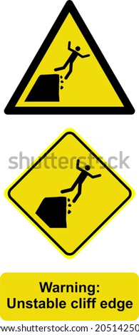 warning unstable cliff edge - stock vector
