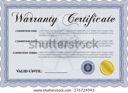 Warranty Certificate. With sample text. With background. Perfect style.  - stock vector