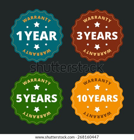 Warranty labels - for 1, 2, 5 and 10 years in flat style. Vector illustration. - stock vector