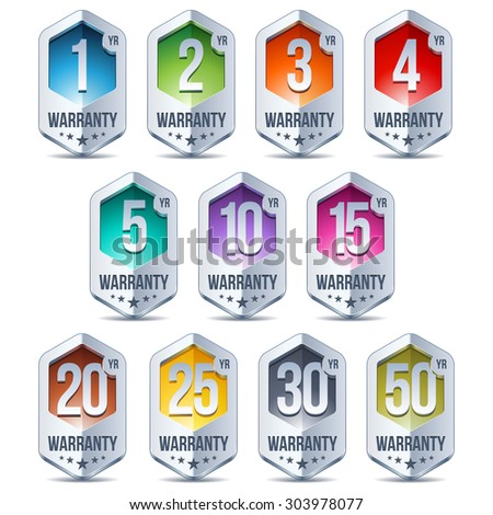 Warranty Seal Hexagon Chrome Badge - stock vector
