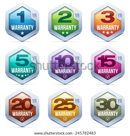 Warranty Seal Metal Badge - stock vector