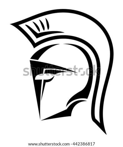 warrior helmet symbol - stock vector