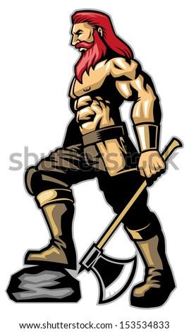 Warrior standing hold an axe - stock vector