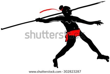 Warrior wielding a spear in battle - stock vector