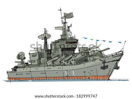 warship - cartoon - stock vector
