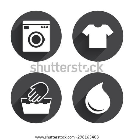 Wash machine icon. Hand wash. T-shirt clothes symbol. Laundry washhouse and water drop signs. Not machine washable. Circles buttons with long flat shadow. Vector - stock vector