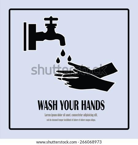 wash your hands symbol,wash hands vector - stock vector