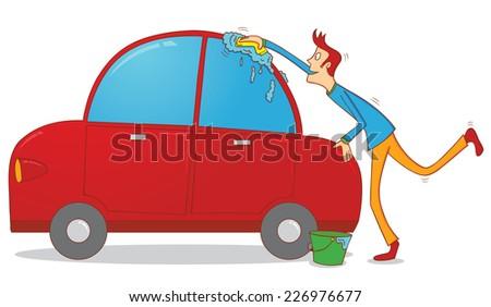 washing a car - stock vector