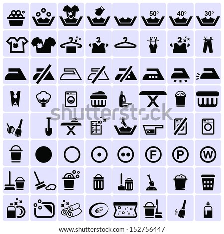 Washing and cleaning icons - stock vector