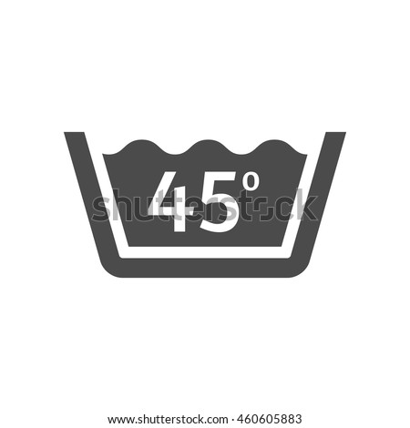 Washing temperature icon in single grey color. Laundry cleaning care - stock vector