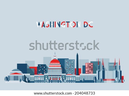 Washington, city architecture vector illustration, skyline city silhouette, skyscraper, flat design - stock vector