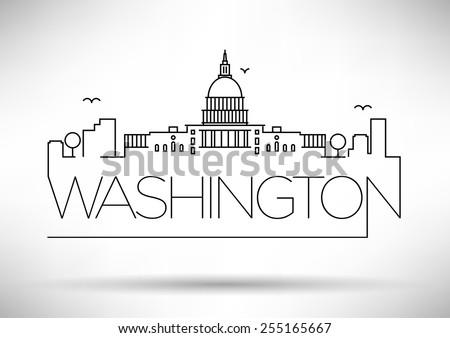 Washington D.C. City Line Silhouette Typographic Design - stock vector