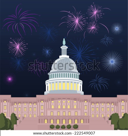 Washington DC Capitol building with open firework set vector illustration. - stock vector