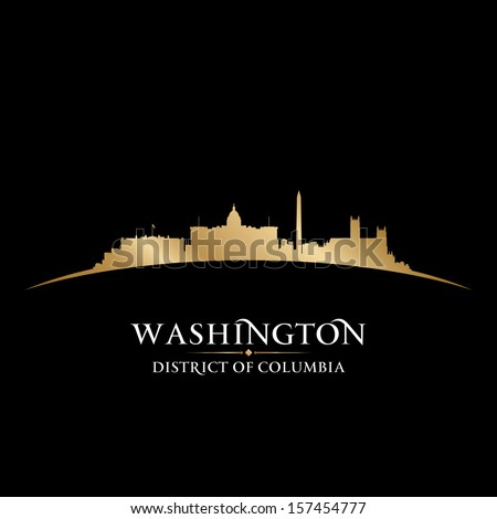 Washington DC city skyline silhouette. Vector illustration - stock vector
