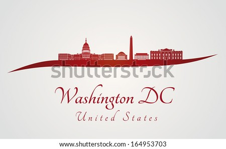 Washington DC skyline in red and gray background in editable vector file - stock vector