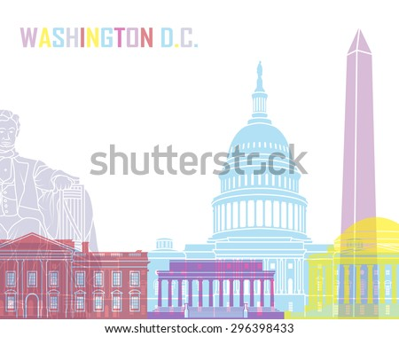 Washington DC skyline pop in editable vector file - stock vector