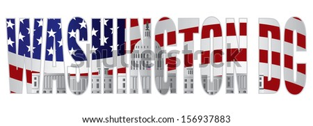 Washington DC Text Outline Silhouette with US Capitol Building with US American Flag Background Vector Illustration - stock vector