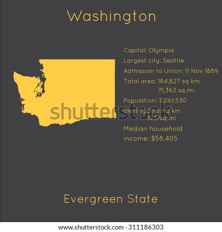 Washington template with main information and map. Simple modern flat style. Vector EPS8 - stock vector