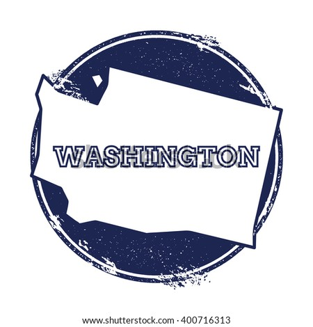 Washington vector map. Grunge rubber stamp with the name and map of Washington, vector illustration. Can be used as insignia, logotype, label, sticker or badge of USA state. - stock vector