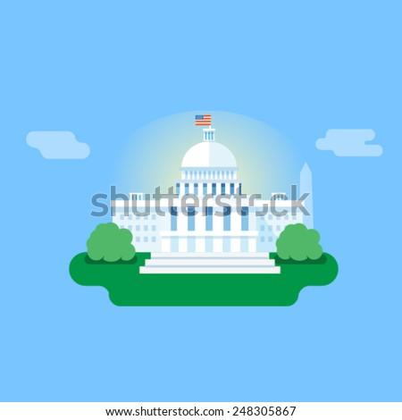 Washington, white house vector flat illustration - stock vector