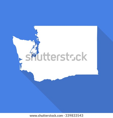Washington white map,border flat simple style with long shadow on blue background - stock vector