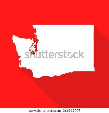 Washington white map,border flat simple style with long shadow on red background - stock vector