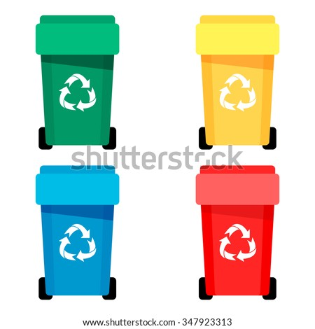 Waste bin set vector illustration - stock vector
