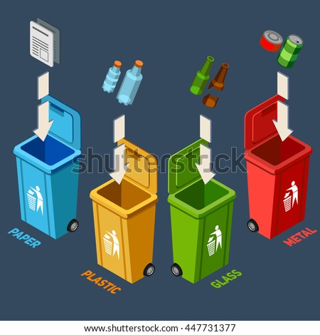 Waste management isometric concept with different colored recycle bins for garbage separation vector illustration  - stock vector