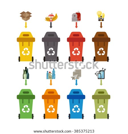 Waste recycling bin set. Vector illustration of waste recycling management. Waste recycling bin flat waste sorting concept. Colored waste recycling bin set with waste sorting categories. - stock vector