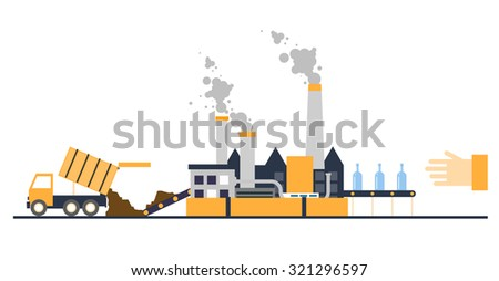 Waste recycling garbage truck brought to the processing plant processed waste - stock vector
