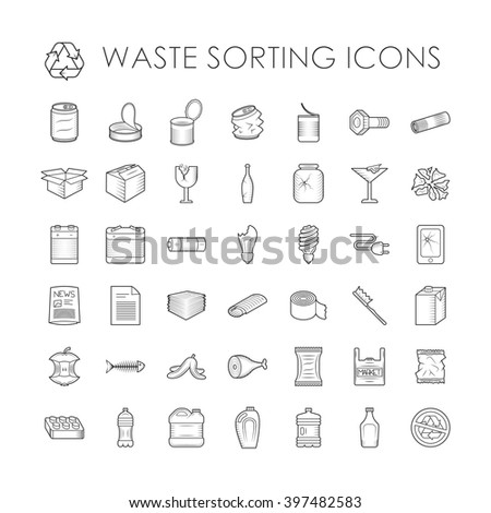 Waste sorting ecology outline icons and waste sorting environment trash outline icons. Waste sorting recycle container. Set of garbage separation recycling related waste sorting outline icons vector. - stock vector