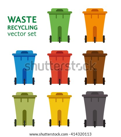 Waste sorting garbage bin set vector. Waste management and recycle concept with waste bin set. Separation of waste trash bin set. Sorting recycling waste cans. Colored garbage cans vector. - stock vector