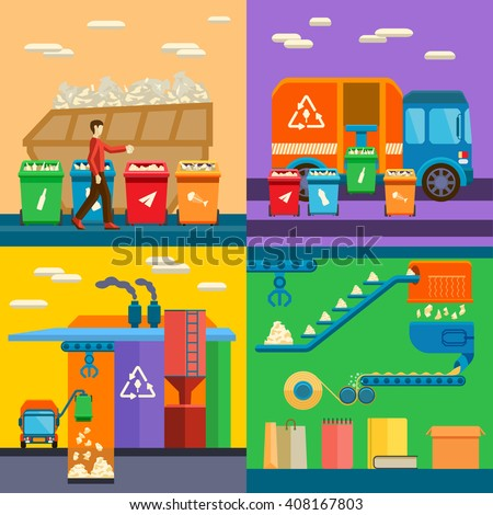 Waste sorting garbage recycling environment flat style vector illustration. Garbage recycling environment waste sorting and ecology pollution waste sorting. Recycle waste sorting concept management. - stock vector