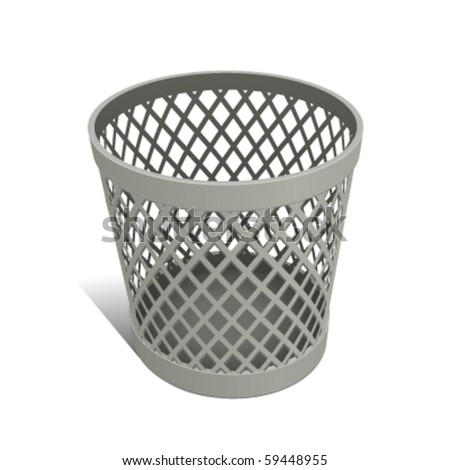 Wastepaper Basket white - stock vector