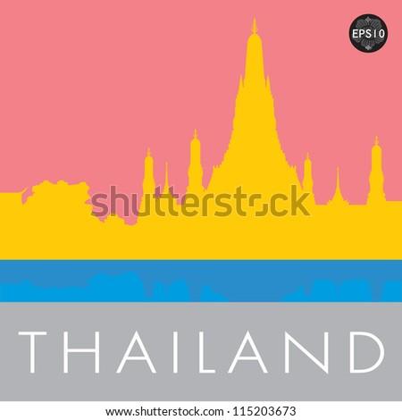 Wat Arun Temple in bangkok thailand, Vector - stock vector