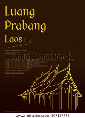 Wat Xieng thong temple,Luang Pra bang, Laos  - stock vector