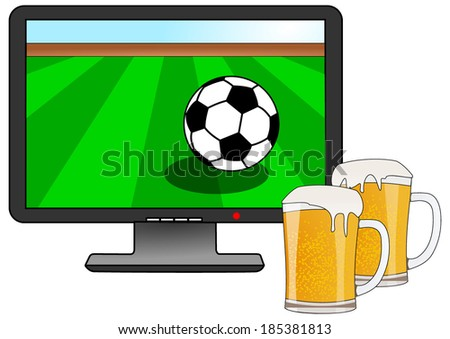 Watch football together with friends and drink a cold beer. football on TV. vector art image illustration, isolated on white background - stock vector