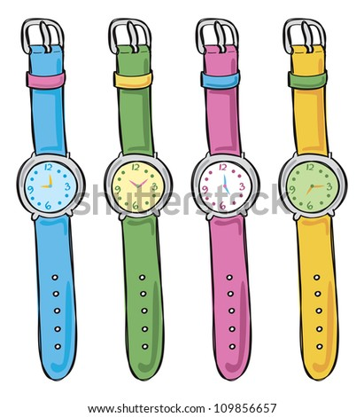 watch in various color - stock vector
