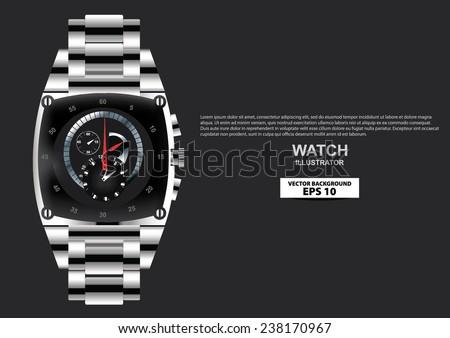 Watch Man Men Wristwatch Expensive Luxury  - stock vector