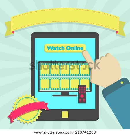 """Watch online through tablet. """"Watch online"""" button in a tablet for watch movie streaming. Colorful artwork. Blank ribbon and stamp for insert text. - stock vector"""