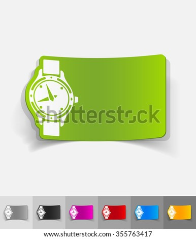 watch paper sticker with shadow. Vector illustration - stock vector