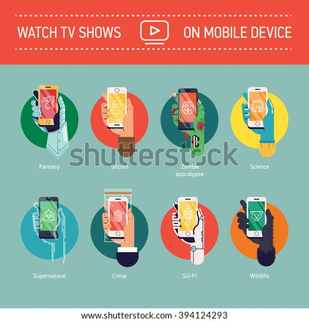 Watch TV Shows on mobile device vector web icons set. Popular television series types and genres allegorical figurative illustrations with various hands holding mobile smart phone device - stock vector