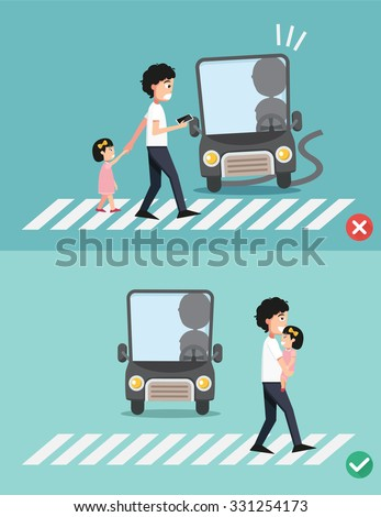 watch your step.man with child on the crosswalk, illustration, vector - stock vector