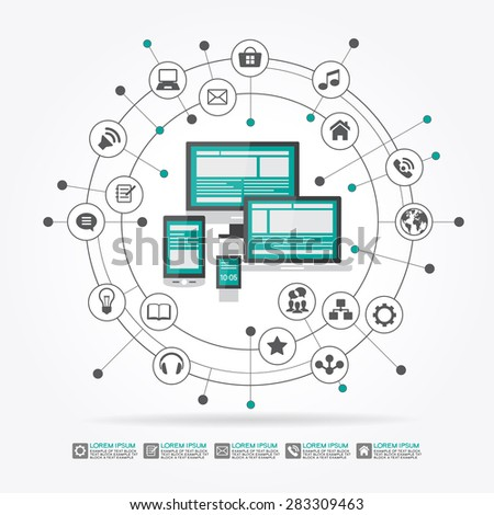 Watches, computer, mobile phone, laptop surrounded by abstract computer network with integrated circles and icons for digital,  network, internet, connect, social media, communicate - stock vector