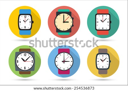 Watches in different colors, icons for web, vector illustrations set, with long shadows. Flat style. - stock vector